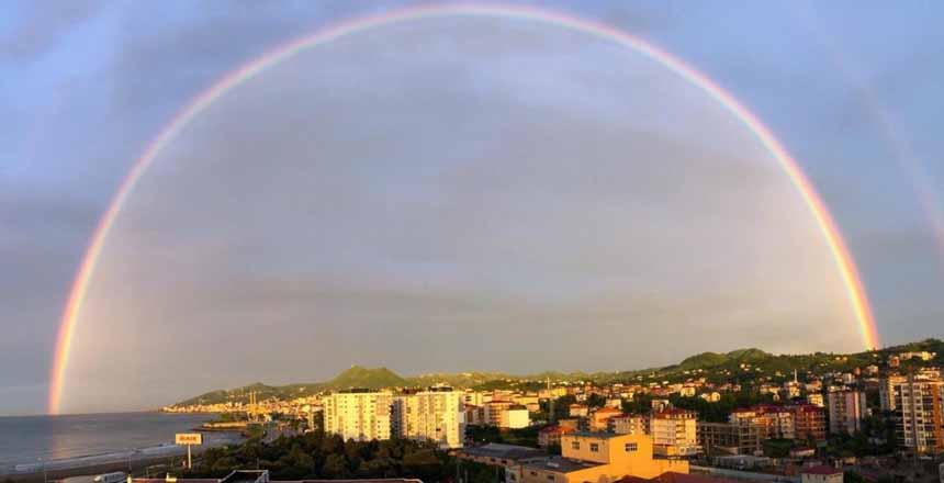Bulancak'ta Cifte Gökkuşağı Hayranlık Uyandırdı