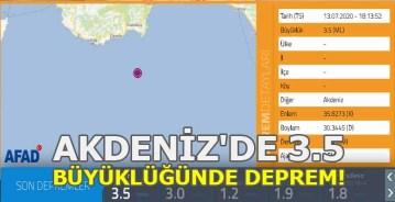 Akdeniz'de 3.5 Büyüklüğünde Deprem!