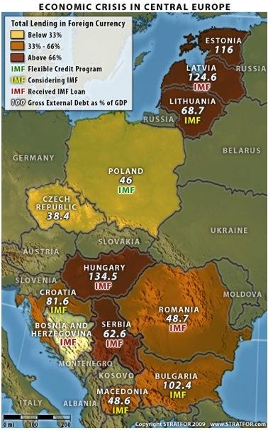 Bulgarian GDP is set to contract by around 6 percent in 2009. This, combined with an expected budget deficit of 2.5 percent of GDP, contributes to some worrisome numbers, although not as dramatic as figures elsewhere in the region. However, Bulgaria does not have sufficient foreign currency reserves to cover its extremely high external debt coming to maturity in 2009. John Friedman, Stratfor, www.fbkfinanzwirtschaft.com