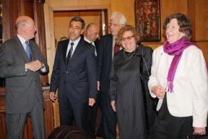 Академична дискусия по проблемите на Третото българско царство - (от ляво на дясно) Симеон Сакскобургготски, Даниел Вълчев, Анелия Атанасова и Мария Луиза. ФОТО: партия НДСВ