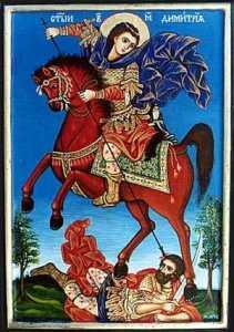 На иконите изобразяват Св.Димитър да убива цар Скилион - Скилион е обидно название на византийците за цар Калоян, като обръщат Кало-Йоан в Скилийон, т.е. Кучето-Йоан. И така както началото на легендите тръгва от началото на Първото царство, така и свършват с края на Второто царство. Според преданието на Димитровден турците разбили войската на цар Иван Шишман, като в сражението загинал самия цар. Турците сочели гроба на царя с дължина 2 аршина и го наричали Касъм бег, т.е. св. Димитър в деня на празника на който бил убит.С името на св.Димитър се свързва отбълскванетона славянските обсади на Солун през VІІ век. Пак на неговата помощ се отдзава неуспеха на хан Кубер и Мавър да завземат Солун.