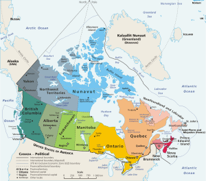 Админастртивна карта на Канада. КЛИКНЕТЕ ВЪРХУ СНИМКАТА 2 ПЪТИ ЗА ГОЛЯМ РАЗМЕР. Фото: Уики