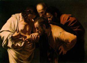 """Тома неверни е картина от италианския бароков художник Караваджо, нарисувана около 1601-1602 г. В момента се съхранява в Сансуси в Потсдам, Германия.  Според Евангелие от Йоан, Тома пропуска едно от появяванията на Христос пред апостолите след възкресението си и отказва да приеме неговото възкресение докато не докосне раните му, за да се убеди. Седмица по-късно Христос се появява и кара Тома да го докосне и казва: """"Блажени са тези, които не са видели, но въпреки това повярваха."""" /УИКИ/"""