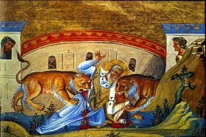 Заради вярата си Св. Игнатий бил хвърлен на лъвовете