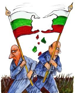 На предстоящите парламентарни избори тази година, политиците ще се опитат да задържат трибагреника цял и най-вече мястото си във властта на цената на всичко. Знамето е най-възможно да се оцвети в цветовете на дъгата от коалиции и договорки. Карикатура: Анатоли Станкулов