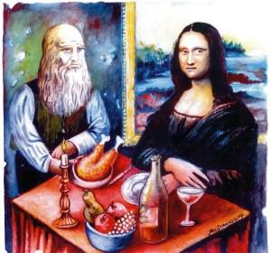 Създателя Майстор Леонардо и творението му Джокондата сядат на една маса резервирани от тях и за тях, като задължително оставят добър тип (бакшиш) на сервитьорите и запазват местата си за възможно най-дълго време. На масата трябва да бъде добре заредена с сочни родни ястия, приготвени по чужди рецепти. Трохи от масата винаги се оставят за преминаващите тихи или скандиращи близки и еднородници на сервитьора. Лампите по ресторантите светят силно, захранвани от електричество на добра цена.