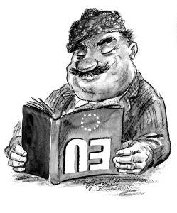 Бай Ганьо Европеец, член на ЕС. Фото: блогът на Тикоев /кликнете в/у снимката за големи размери/
