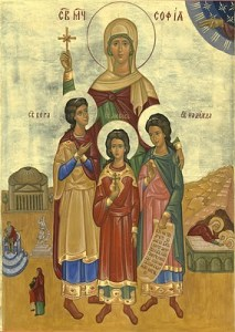 The Holy Martyrs Saints Sophia and her Daughters Faith, Hope and Love - Commemorated on September 17