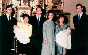 Принц Константин-Асен (1967) и съпругата му Мария (1970) с двете им деца близнаци Умберто и София, родени през 1999 г.