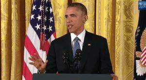 5 ноември 2014 г. Президентът на САЩ Барак Обама говори на специална пресконференция след изборите за Сенат и Конгрес.