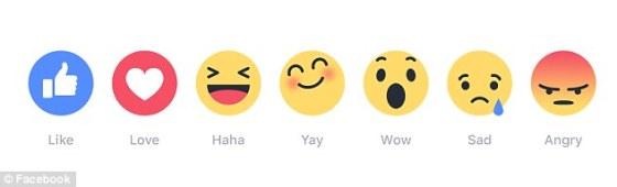 Новите емотикони на Фейсбук са сърце, засмяно, шокирано, тъжно и ядосано лице, и популярният вдигнат палец