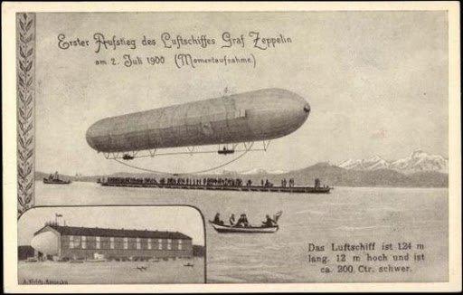 """Първият полет на """"Граф Цепелин"""" над Боденското езеро, 2 юли 1900 г."""