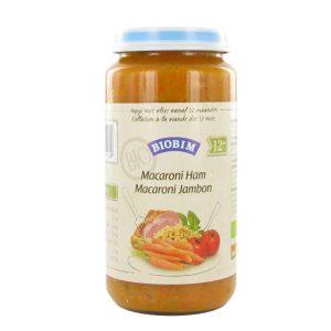 Klik voor grotere afbeelding Joannus Biobim Macaroni-Jambon 250g 12 mois