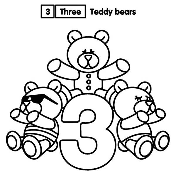 Learn Number 3 With Three Teddy Bears Coloring Page Bulk Color