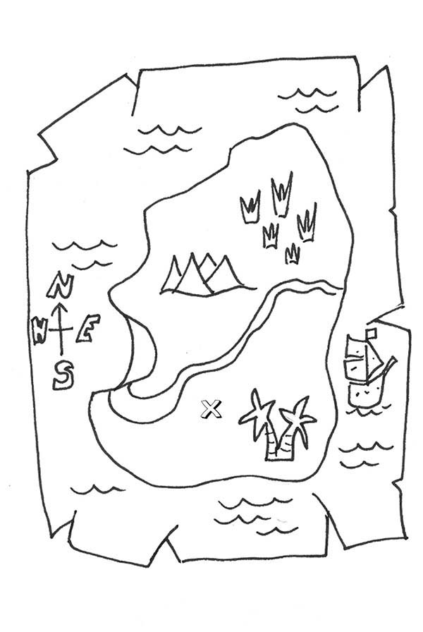Treasure Maps Coloring Pages For Kids Bulk Color