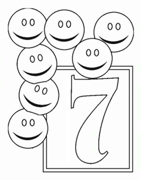 Learn Number 7 With Seven Smiley Faces Coloring Page Bulk Color