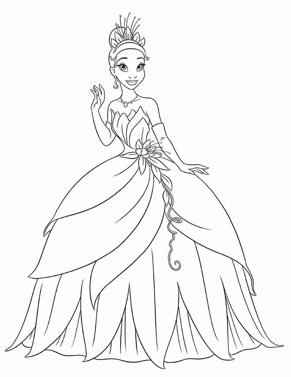 Princess Tiana Waving Hand In Princess And The Frog Coloring Pages Bulk Color