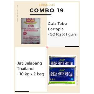 COMBO 19 – Gula Tebu Bertapis (Refined Cane Sugar) 50 Kg x 1 guni + Jati Jelapang Thailand 10 kg x 2 beg