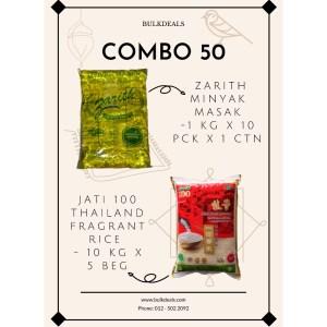 COMBO 50 - Zarith Minyak Masak (Cooking Oil) 1 kg x 10 pck x 1 ctn + Jati 100 Thailand Fragrant Rice 10 kg x 5 beg