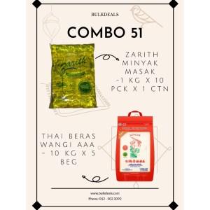 COMBO 51 – Zarith Minyak Masak (Cooking Oil) 1 kg x 10 pck x 1 ctn + Thai Beras Wangi AAA 10 kg x 5 beg