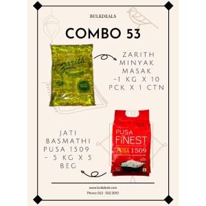 COMBO 53 – Zarith Minyak Masak (Cooking Oil) 1 kg x 10 pck x 1 ctn +Jati Basmathi Pusa 1509 (Red Color) 5 kg x 5 beg