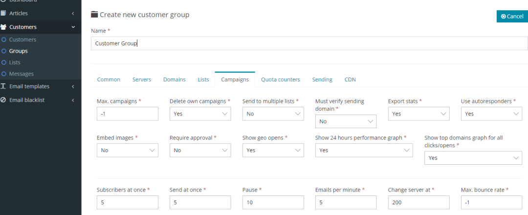 Create Groups in Re-seller Panel