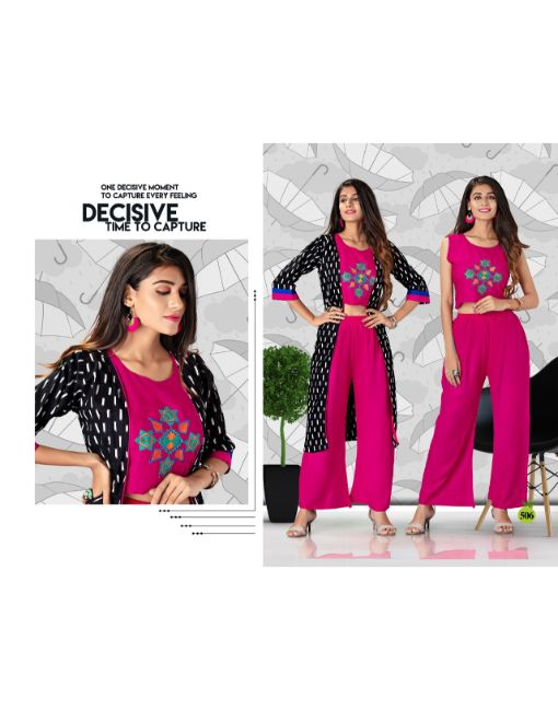Rs 561 Pc Mousam Top With Jacket & Palazzo Wholesale Catalog 07 pcs