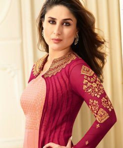 Kaseesh Semi-Stitched Suit (Peach & Red)