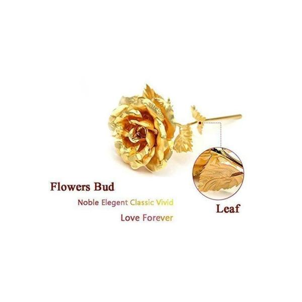 0879 24K Artificial Golden Rose/Gold Red Rose with Gift Box (10 inches) - Bulkysellers.com