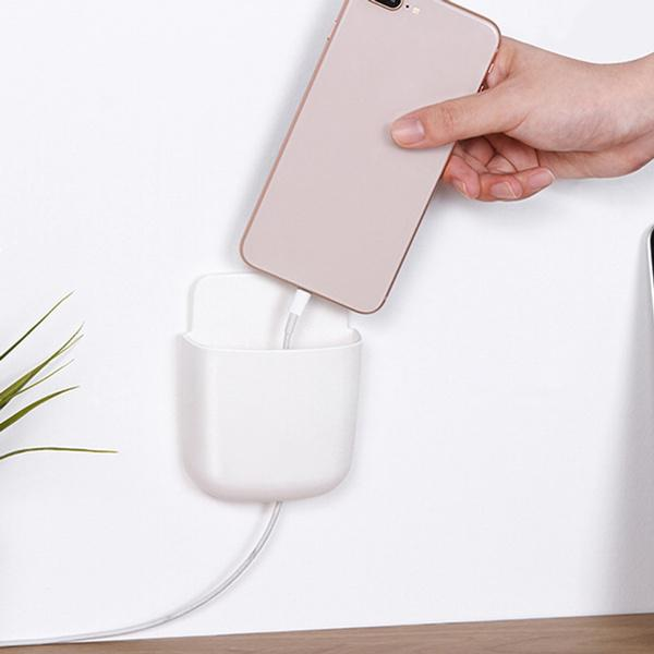 1374 Wall Mounted Storage Case with Mobile Phone Charging Port Plug Holder - Pack of 4 Pcs - DeoDap