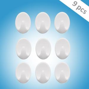 1544 Self Adhesive Plastic Wall Hook Set for Home Kitchen and Other Places (Pack of 9) - Bulkysellers.com