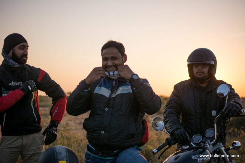 Bulleteer Dinesh Gupta getting ready to ride ahead to Dev Kho after a short photo break
