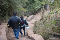 Bulleteer Manish Satija and Somesh Khatuja hurrying down the stairs to the water body at Dev Kho