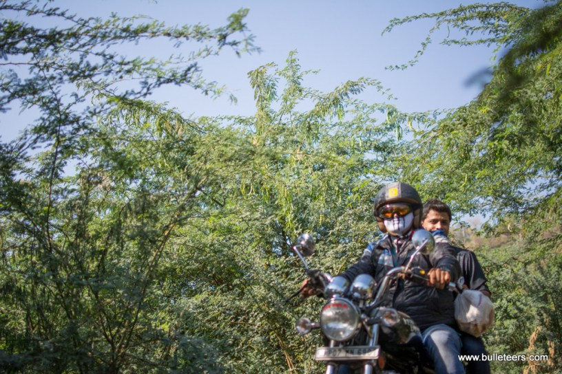 Bulleteer Dinesh Gupta on the way back from Tighra Dam
