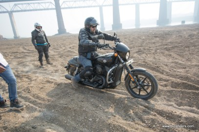 Mayank Sethi on his A Harley Davidson Street 750 keeping up with the pack through dirt tracks and sand