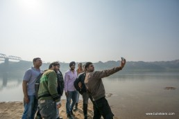 Selfie time for bulleteers at chambal river side during of off road ride through the ravines