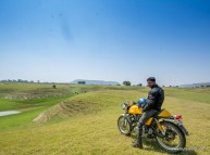 bulleteer mragendra chaturvedi riding a royal enfield continental gt through the grasslands of pagara, gwalior