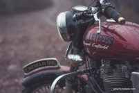 asif khan's newly painted royal enfield with the bulleteers sticker on the tank