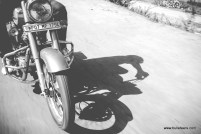 a rider's shadow in black and white, riding hi classic 500