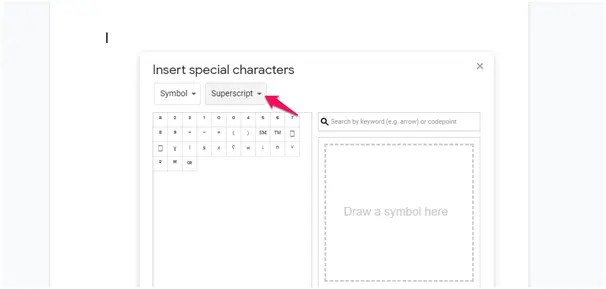 superscript google docs