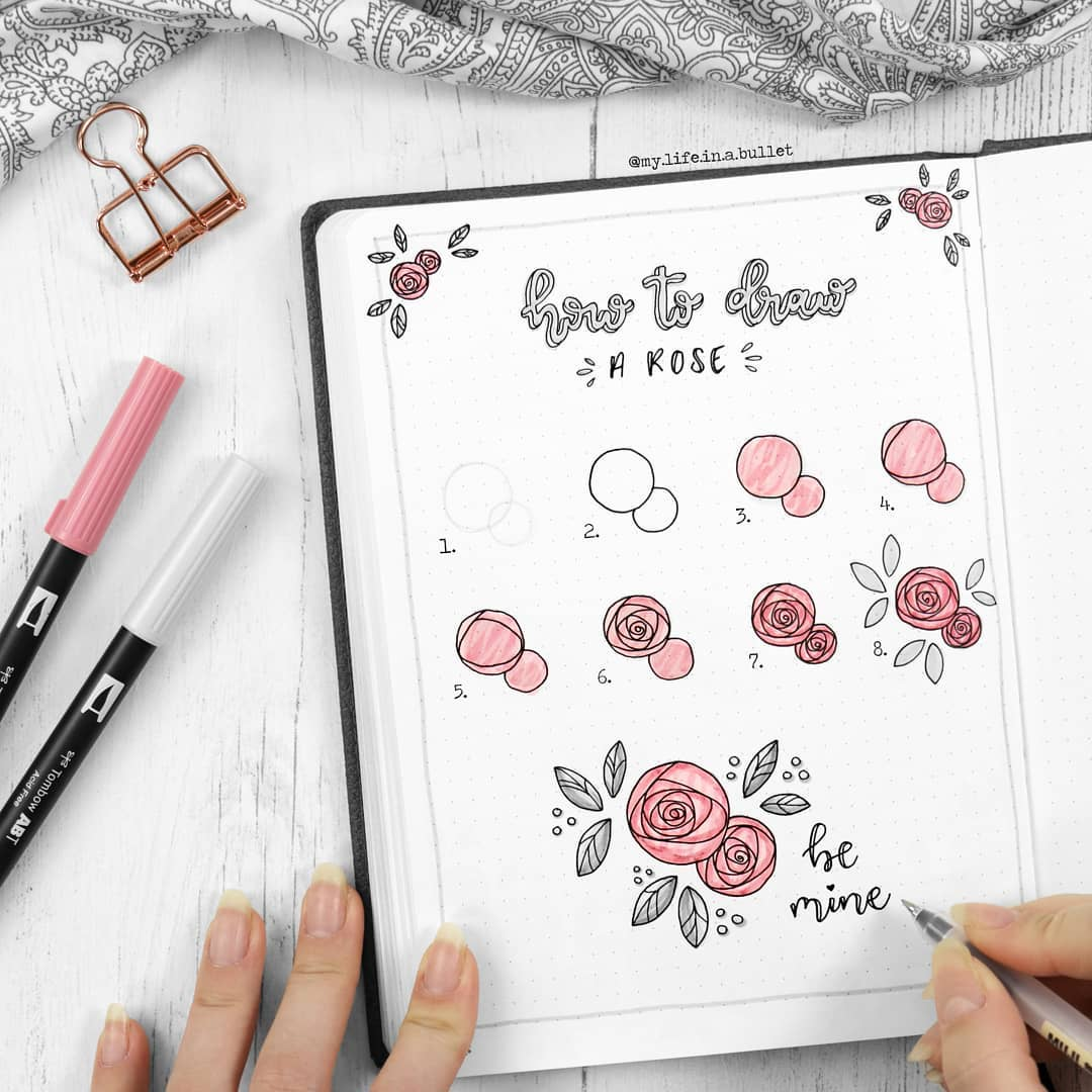 Bullet Journal Addict How To Draw Roses Rose Themes For Bullet Journals