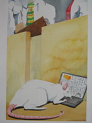A water color of a rat on a computer making a computerized rat run a maze