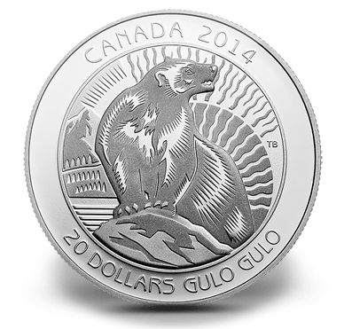 2014 - $20 Fine Silver Coin - Untamed Canada : Wolverine