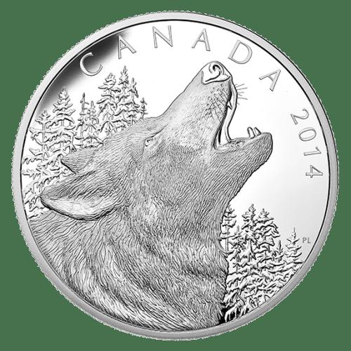 2014 - $125 1/2 Kilo Fine Silver Coin - Howling Wolf
