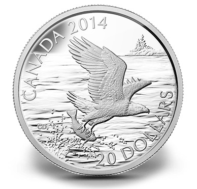 2014 - $20 1 oz. Fine Silver Coin - Bald Eagle With Fish