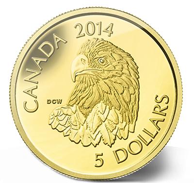 2014 - $5 1/10 oz. Pure Gold Coin - Bald Eagle