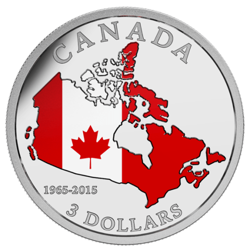 2015 - $3 Fine Silver Coin - 50th Anniversary of the Canadian Flag