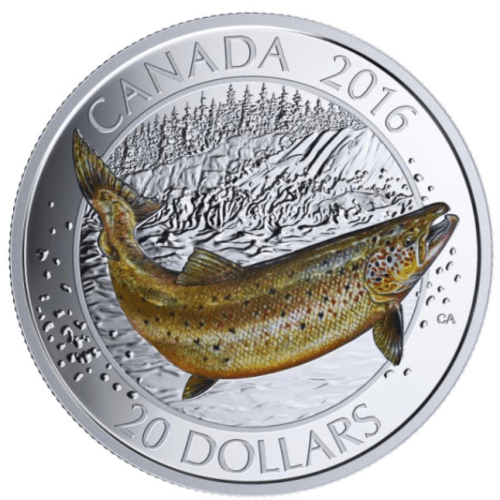 2016 - $20 Fine Silver Coin - Canadian Salmonids Atlantic Salmon