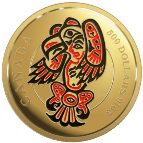 2016 - $500 Pure Gold Coin – Mythical Realms of the Haida Series : The Eagle