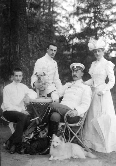 The Yusupov family in 1912: Prince Felix, Prince Nicholas, Count Felix Felixovich Sumarkov-Elston and Princess Zinaida.